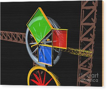 Pythagorean Machine Landscape 1 Wood Print by Russell Kightley
