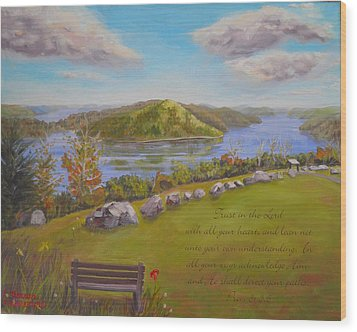 Quabbin Reservoir With Verse Wood Print