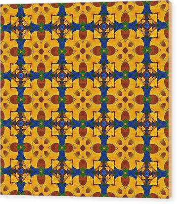 Quadrichrome 13 Symmetry Wood Print by Hakon Soreide