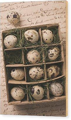 Quail Eggs In Box Wood Print by Garry Gay
