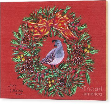 Wood Print featuring the painting Quail Holiday Greeting Card by Judy Filarecki