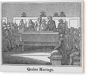 Quaker Marriage, 1842 Wood Print by Granger