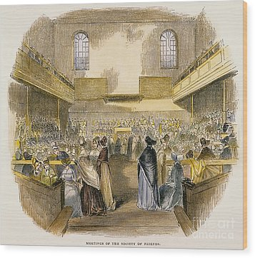 Quaker Meeting, 1843 Wood Print by Granger