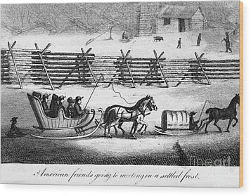 Quakers Going To Meeting Wood Print by Granger