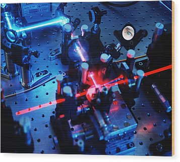 Quantum Cryptography Equipment Wood Print by Volker Steger
