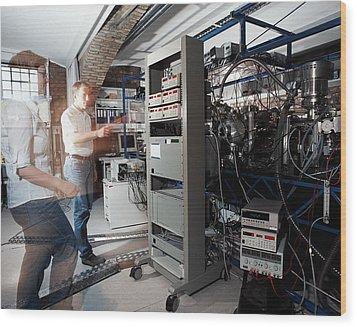 Quantum Entanglement Equipment Wood Print by Volker Steger