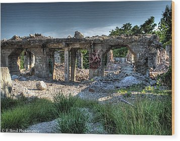 Quarry Ruins Wood Print by Heather  Boyd
