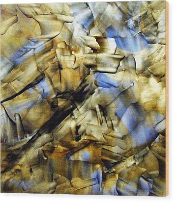 Quasi Scape Blue Wood Print by Turgay Denizel