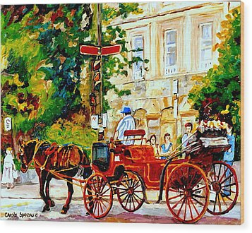 Quebec City Street Scene The Red Caleche Wood Print by Carole Spandau