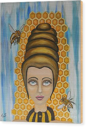 Queen Bee And The Nectar Of The Gods Wood Print by Claudia Tuli