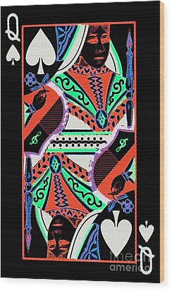 Queen Of Spades Wood Print by Wingsdomain Art and Photography