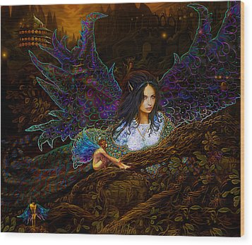 Wood Print featuring the painting Queen Of The Fairies by Steve Roberts