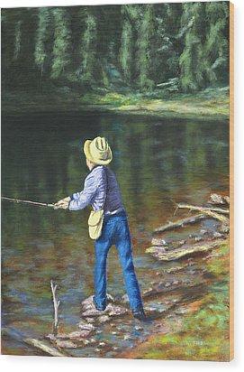 Queo Fishing At 10000 Ft Above Penasco Nm Wood Print