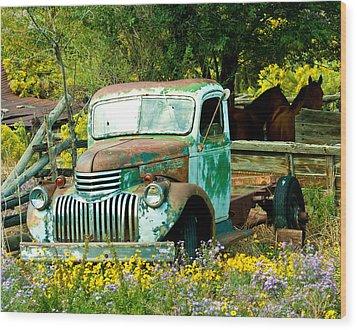Questa Truck Wood Print by Jim  Arnold