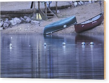 Quiet Canoes Wood Print by Janie Johnson