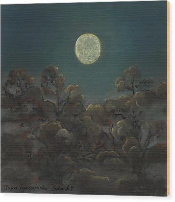 Quiet Night Wood Print by Anna Folkartanna Maciejewska-Dyba