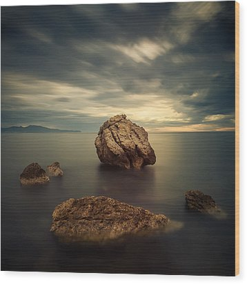 Quiet Rocks Wood Print by Xose Casal Photography