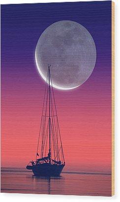 Quiet Sailboat Wood Print