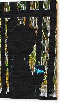 Quiet Time With My Biberon Wood Print