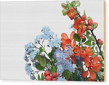 Wood Print featuring the photograph Quince Chaenomeles And Forget Me Nots Myosotis  Postcard  by Aleksandr Volkov