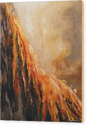 Wood Print featuring the painting Quite Eruption by Karen  Ferrand Carroll