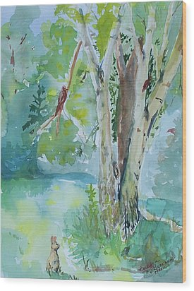 Rabbit And Maple Wood Print by Barbara McGeachen