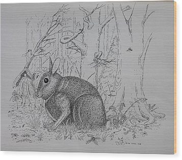 Wood Print featuring the drawing Rabbit In Woodland by Daniel Reed