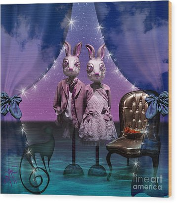 Rabbits In Love Wood Print