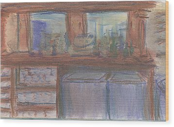 Wood Print featuring the pastel Rachel's Office by Denny Morreale