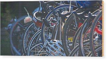 Racing Bikes Wood Print by Sarah McKoy