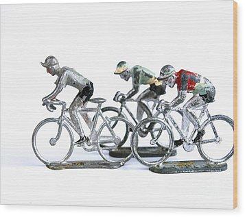 Racing Cyclist Wood Print by Bernard Jaubert