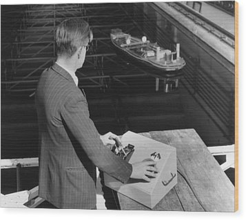 Radio-controlled Model Tug, 1955 Wood Print by National Physical Laboratory (c) Crown Copyright