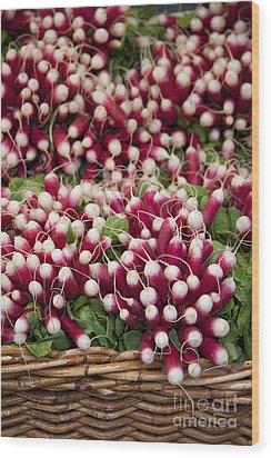 Radishes In A Basket Wood Print by Jane Rix