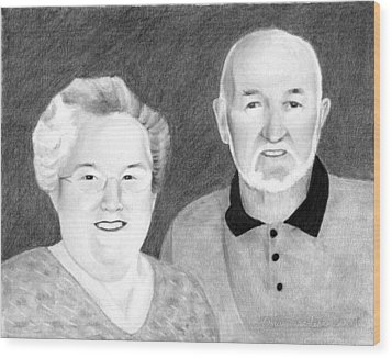 Wood Print featuring the drawing Raeleen And Jim Campbell by Ana Tirolese
