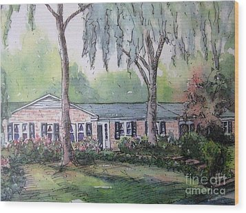 Wood Print featuring the pastel Ragan's Home 1 by Gretchen Allen