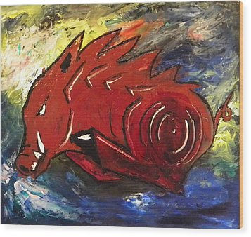 Ragin' Red Wood Print by David McGhee