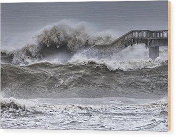 Raging Black Sea Wood Print by Evgeni Dinev