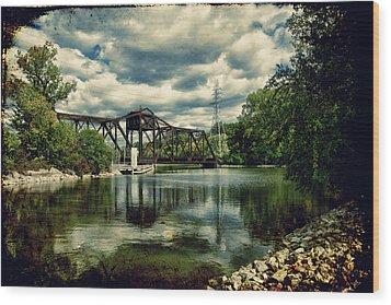 Rail Swing Bridge Wood Print by Joel Witmeyer