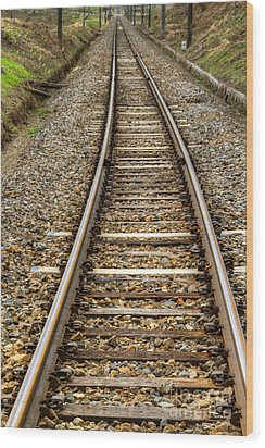 Rail Way Wood Print by Tad Kanazaki