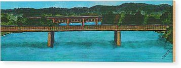 Railroad Bridge At Lady Bird Lake Austin Texas Wood Print