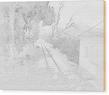 Railroad Crossing In Pencil Sketch Look On The Way From Mycenae To Olympia In Greece Wood Print by John Shiron