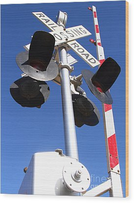 Railroad Crossing Sign And Gate . 7d10645 Wood Print by Wingsdomain Art and Photography