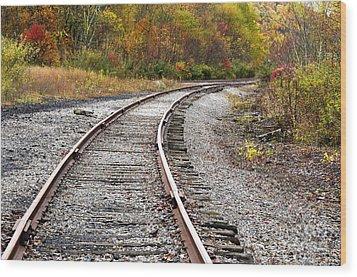 Railroad Fall Color Wood Print by Thomas R Fletcher