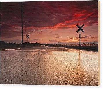 Railroad Sunset Wood Print by Cale Best