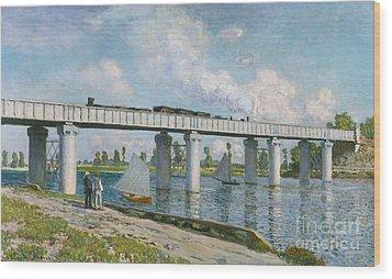 Railway Bridge At Argenteuil Wood Print by Claude Monet
