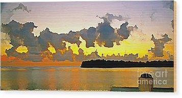 Rain Clouds At Sunset Wood Print by Joan McArthur