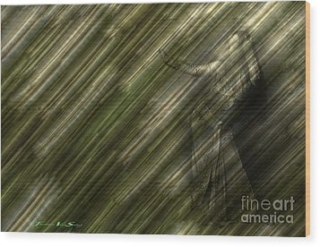 Rain Dances On The Rattan Cane Wood Print by The Stone Age