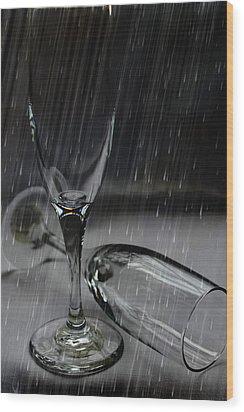 Rain Glasses Wood Print