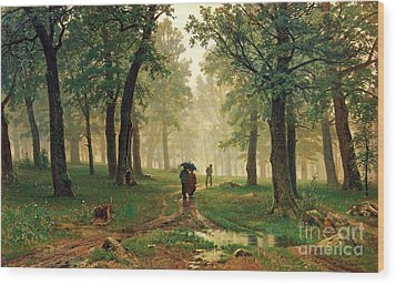 Rain In The Oak Forest Wood Print by Pg Reproductions