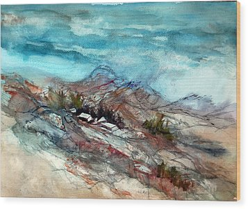 Rain Over The Mountain Wood Print by Ron Stephens